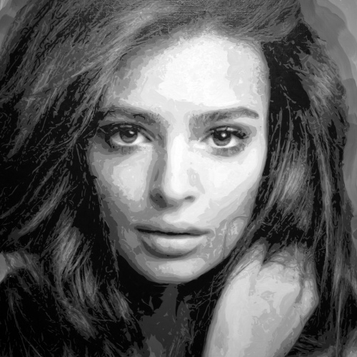 Rob and Nick Carter - RN1282, Emily Ratajkowski - Robot Painting - Painting time: 88:13:00 - Stroke count: 27,448, 19 March - 6 April 2020 · © Copyright 2021