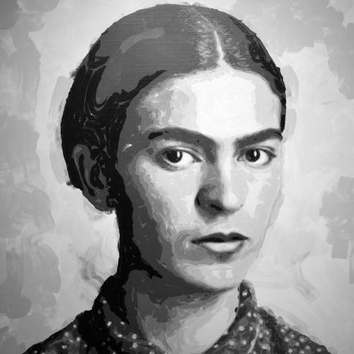 Rob and Nick Carter - RN1281, Frida Kahlo - Robot Painting - Painting time: 49:17:16 - Stroke count: 12,188, 8-18 March 2020 · © Copyright 2021