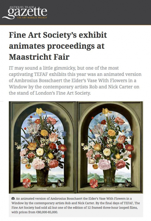 Rob and Nick Carter - Fine Art Society's exhibit animates proceedings at Maastricht Fair, Antiques Trade Gazette · © Copyright 2020