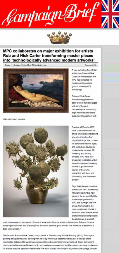 Rob and Nick Carter - Transforming masterpieces into 'technologically advanced modern artwork', Campaign Brief (online) · © Copyright 2021