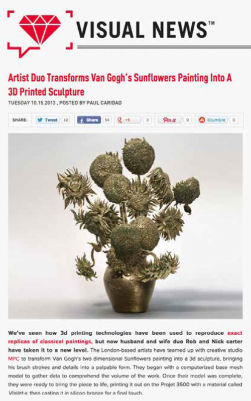 Rob and Nick Carter - Artist Due Transforms Van Gogh's Sunflowers into a 3D Printed Sculpture, Visual News (online) · © Copyright 2020