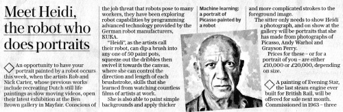 Rob and Nick Carter - Meet Heidi, the robot who does portraits, Daily Telegraph · © Copyright 2020