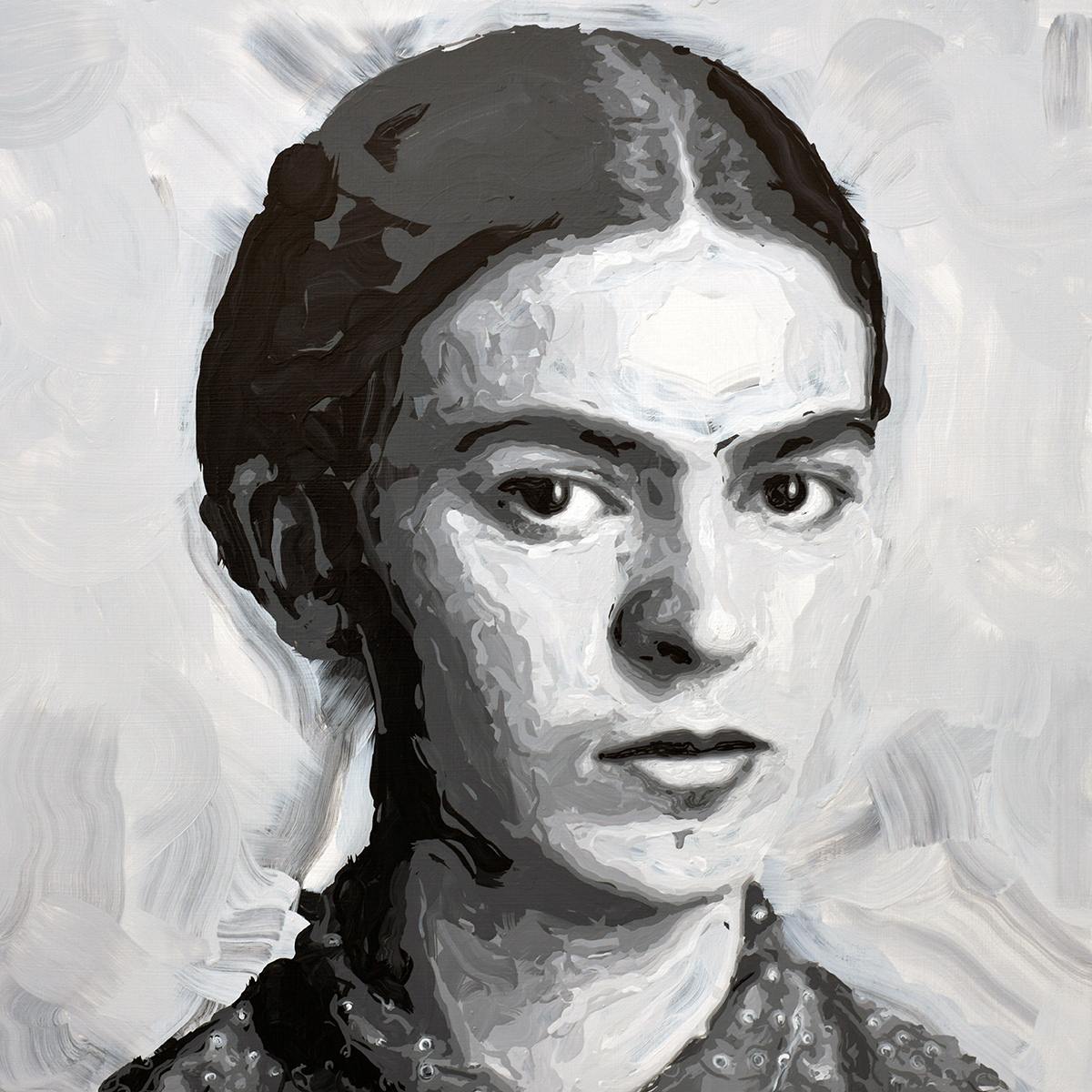 Rob and Nick Carter - RN1256, Frida Kahlo - Robot Painting - Painting time: 19:31:28 - Stroke count: 6,080, 25-26 January 2020 · © Copyright 2021
