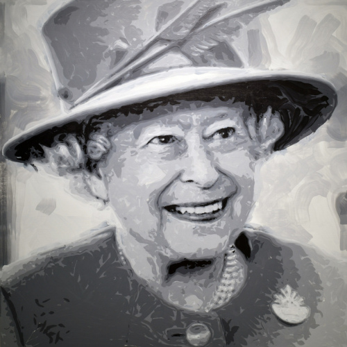 Rob and Nick Carter - RN1271, Queen Elizabeth II - Robot Painting - Painting time: 40:48:30 - Stroke count: 13,832, 10-15 February 2020 · © Copyright 2020